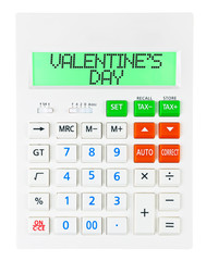 Calculator with VALENTINES DAY on display isolated on white
