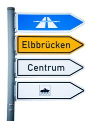 Wegweiser zu den Elbbrücken, Centrum und Hafen