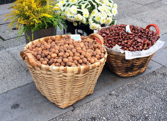 Walnut and chestnut in baskets