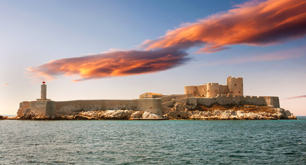Fantastic sunset over famous If castle, Marseille