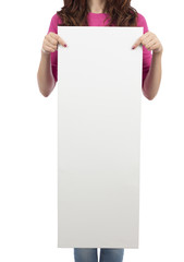 Woman holding a banner with copy space