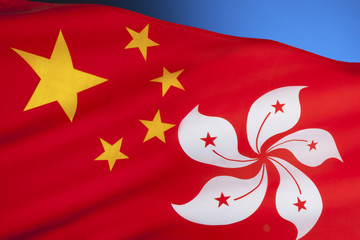 Flags of the Peoples Republic of China and Hong Kong