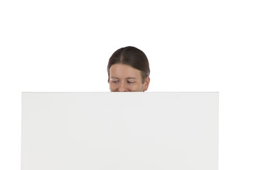 Man looking to a blank advertisement board