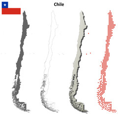 Chile blank detailed outline map set