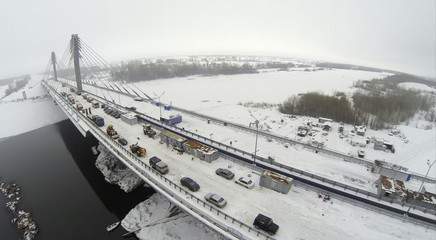 Aerial view to construction on Bridge with cars