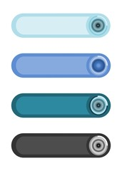 Four simple stylized web buttons in faded colors