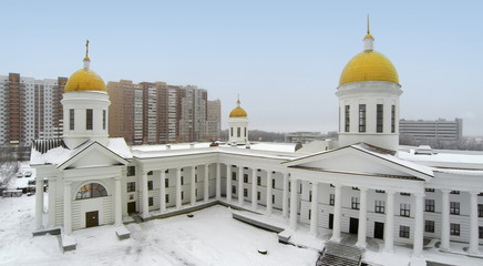 Aerial view to Cathedral  in winter.