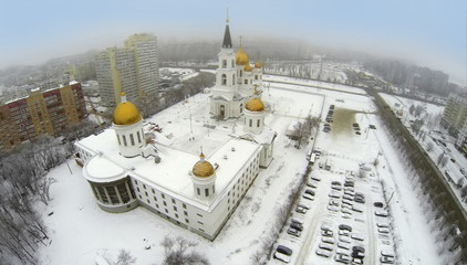 Aerial view to Cathedral with car parking.