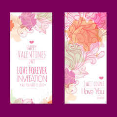 Valentines day background. Set of banners