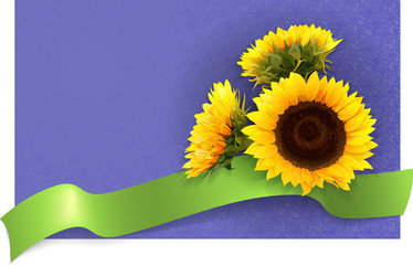 card with sunflowers green banner and place for text