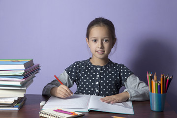 Little student girl studying at home.