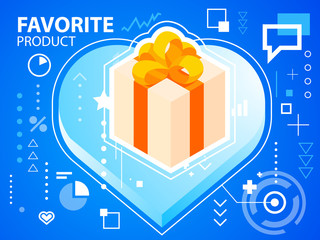 Vector bright illustration heart and gift box with bow on blue b