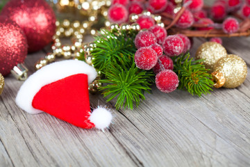 Christmas decoration on wood background,