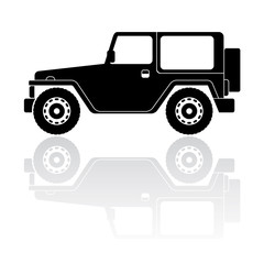 Off road vehicle silhouette vector icon