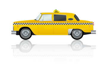 Vintage Yellow New York Taxi Vector Illustration