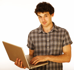 Happy young man with laptop isolated on white