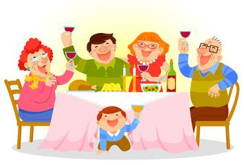 happy family having a festive dinner