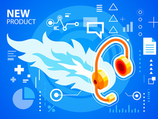 Vector bright illustration fire and head phone on blue backgroun