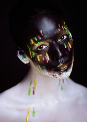 creative make up with splashes of color