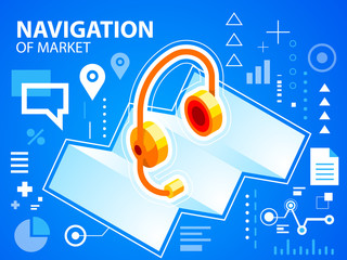 Vector bright illustration navigation map and head phone on blue