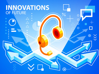 Vector bright illustration arrows and head phone on blue backgro