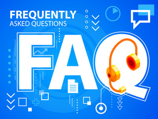 Vector bright illustration faq and head phone on blue background