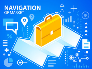 Vector bright illustration navigate map and work suitcase on blu