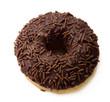 chocolate doughnut with sprinkle on white