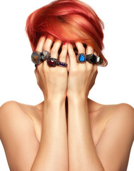 Red hair woman with rings
