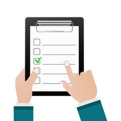 checklist with hand cursor