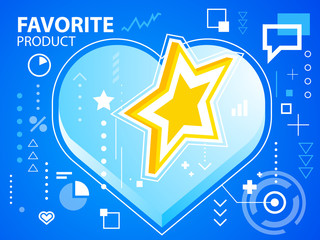 Vector bright illustration heart and star on blue background for