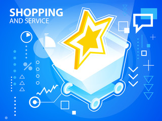 Vector bright illustration star and shopping trolley  on blue ba
