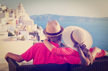 happy young couple on vacation in Greece