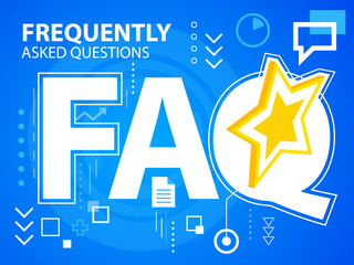 Vector bright illustration faq of star on blue background for ba