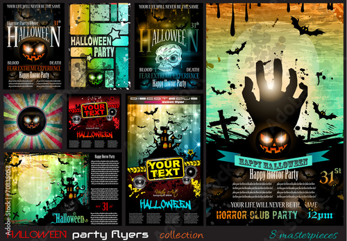 Halloween Party Flyer with creepy colorful elements - 70835053