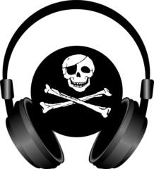 słuchawki i czaszka piracka