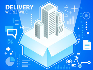 Vector bright illustration delivery box and buildings on blue ba