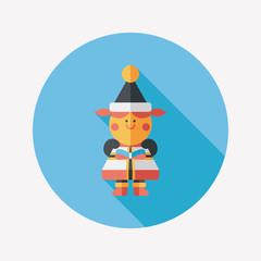 Christmas girl flat icon with long shadow,eps10
