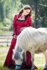 brunette girl and horse