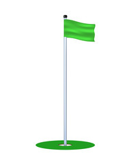 Golf hole with green flag