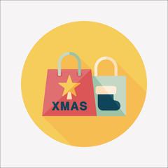 Christmas shopping bag flat icon with long shadow,eps10