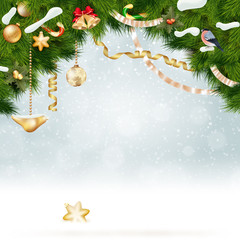 Christmas background with fir and gold balls.
