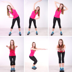 Health concept. Collage of different exercises by young woman