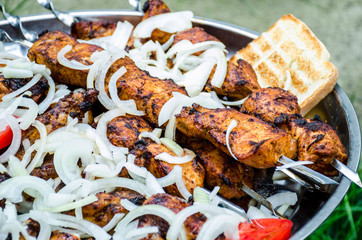 Kebab of pork on fire with bread and onion