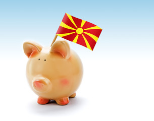 Piggy bank with national flag of Macedonia
