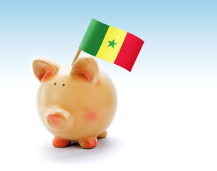 Piggy bank with national flag of Senegal