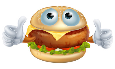 Cartoon hamburger character