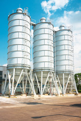 Large silos outdoors
