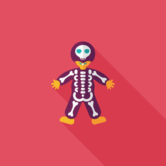 skeleton flat icon with long shadow,eps10
