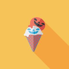 Halloween ice cream flat icon with long shadow,eps10